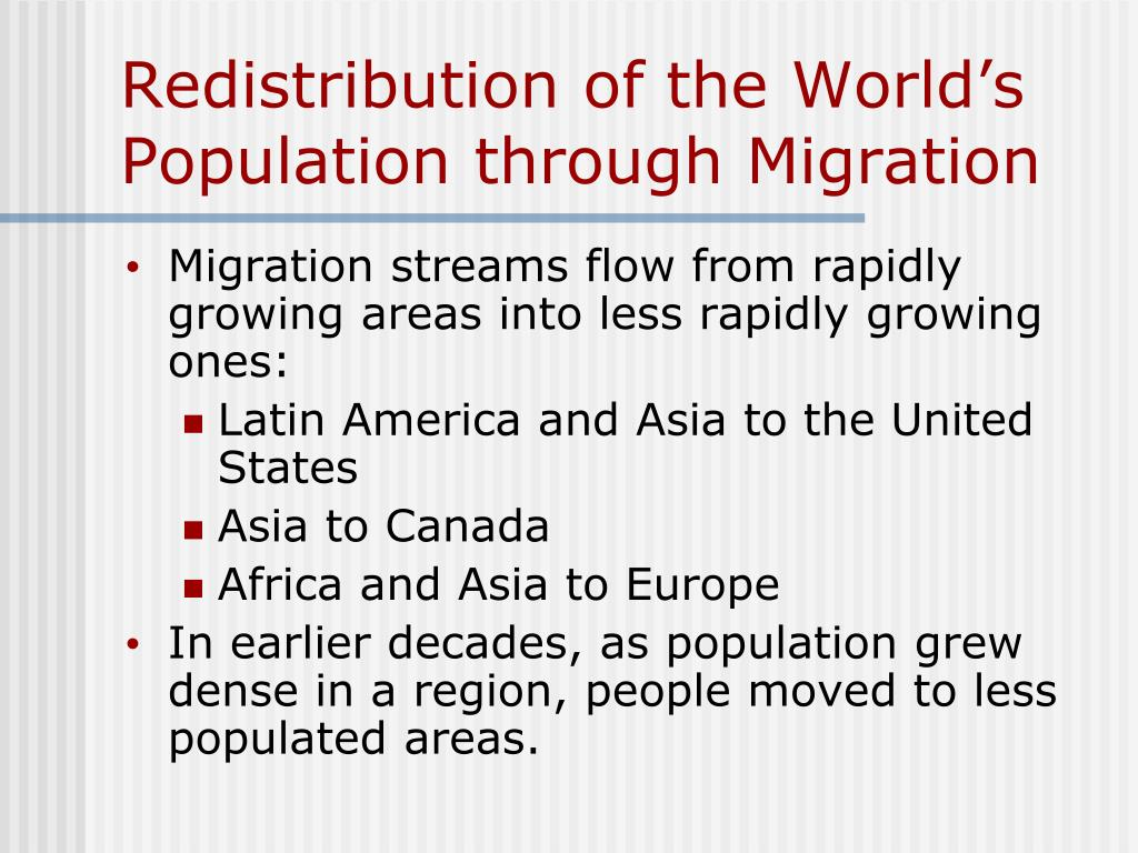 Redistribution of the World's Population through Migration