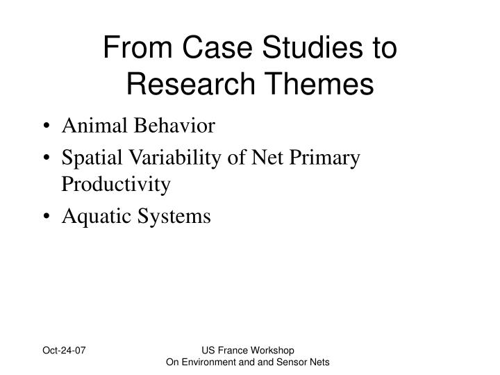 From case studies to research themes