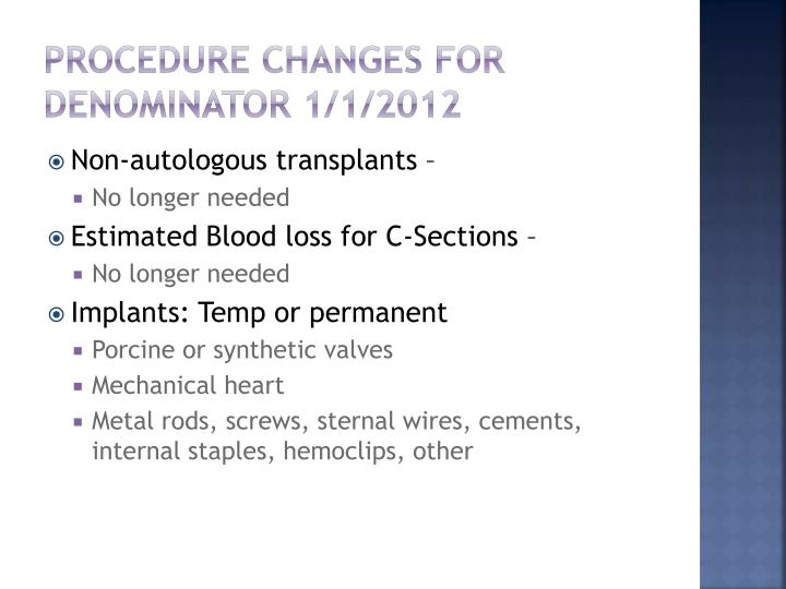 Procedure Changes for Denominator 1/1/2012