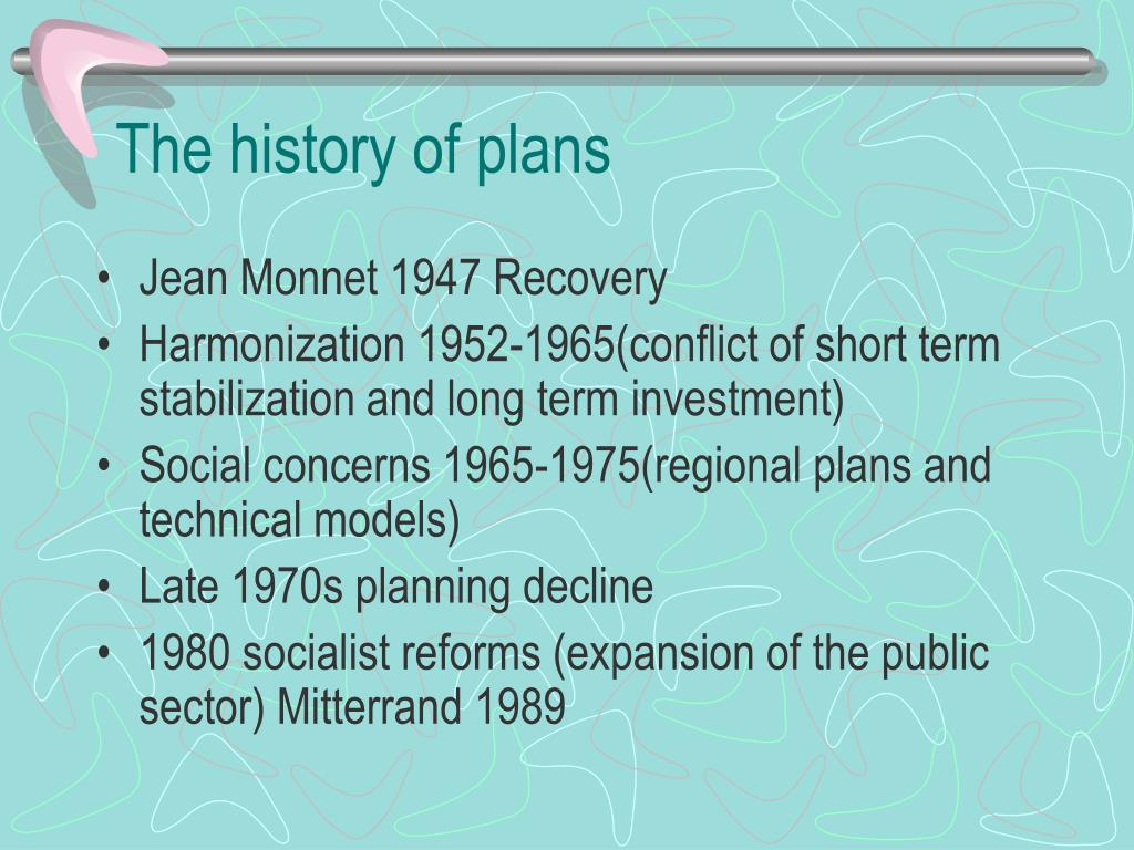 The history of plans