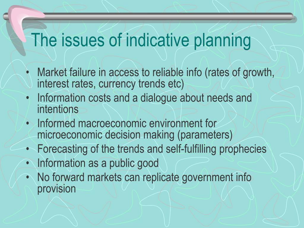 The issues of indicative planning