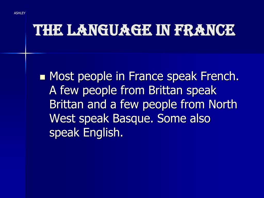 The language in France
