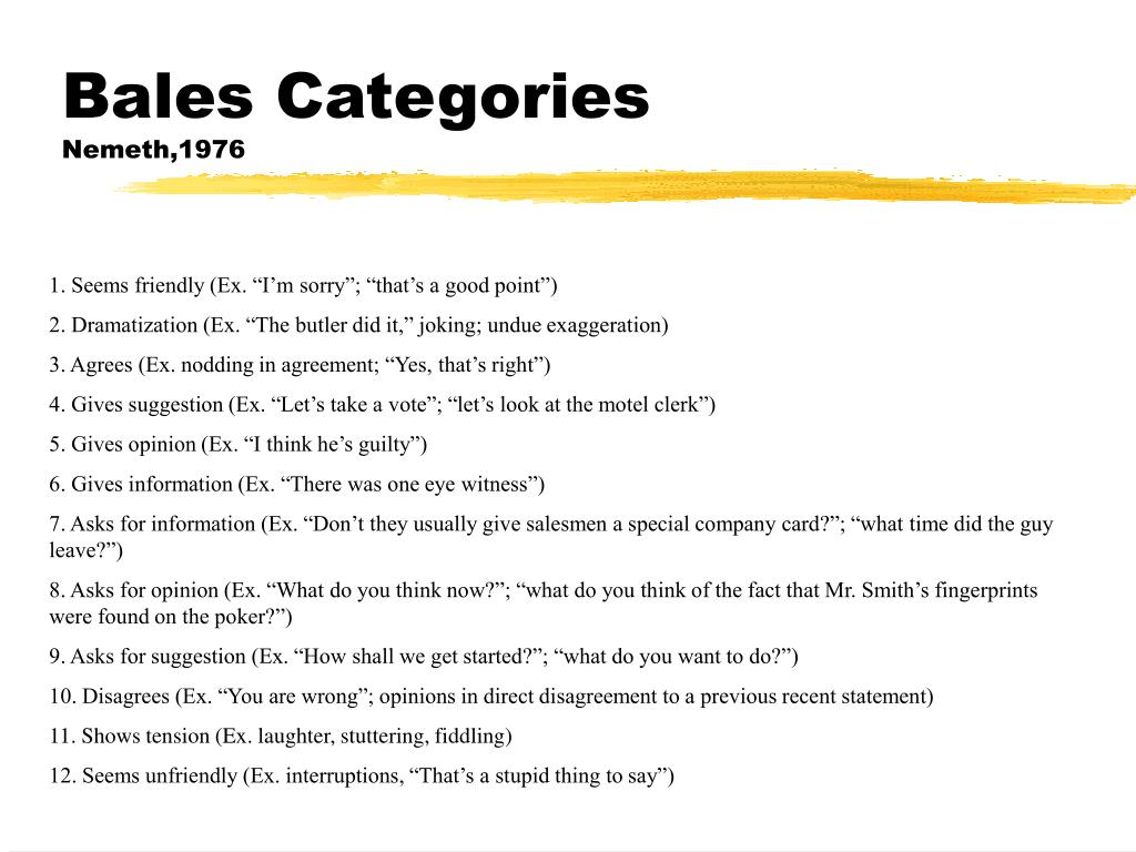 Bales Categories