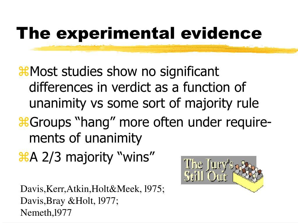The experimental evidence