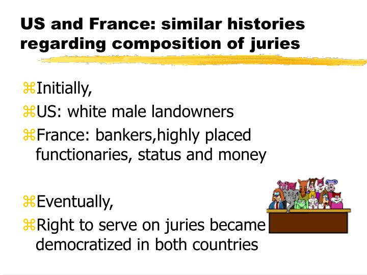 Us and france similar histories regarding composition of juries