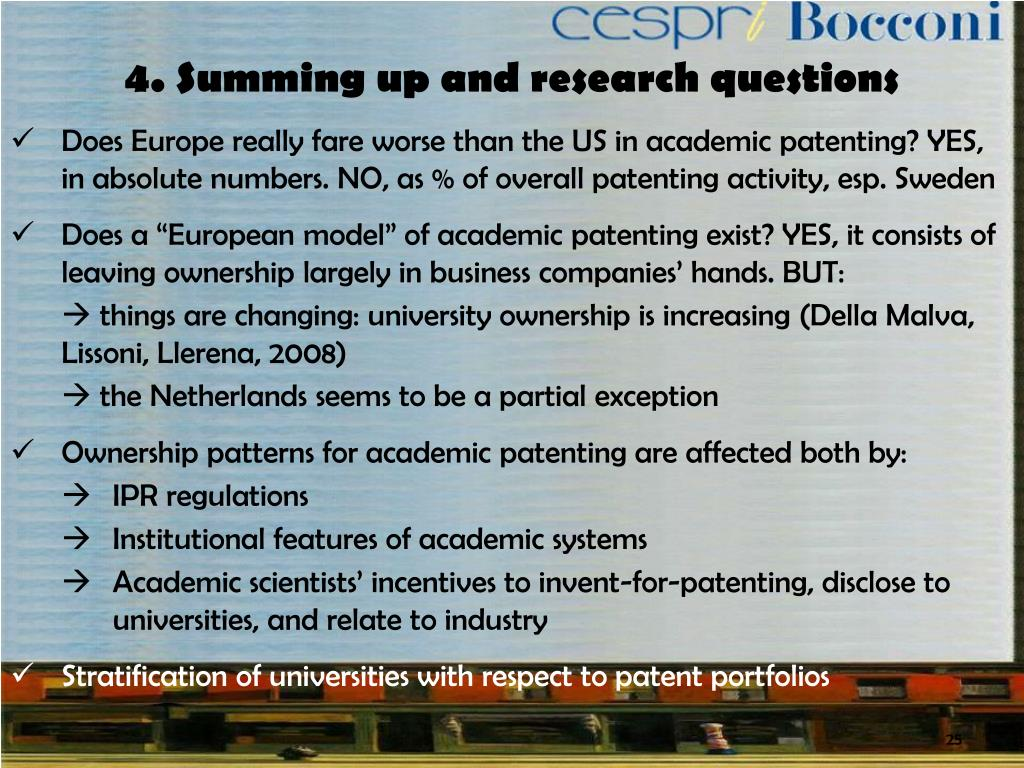 4. Summing up and research questions