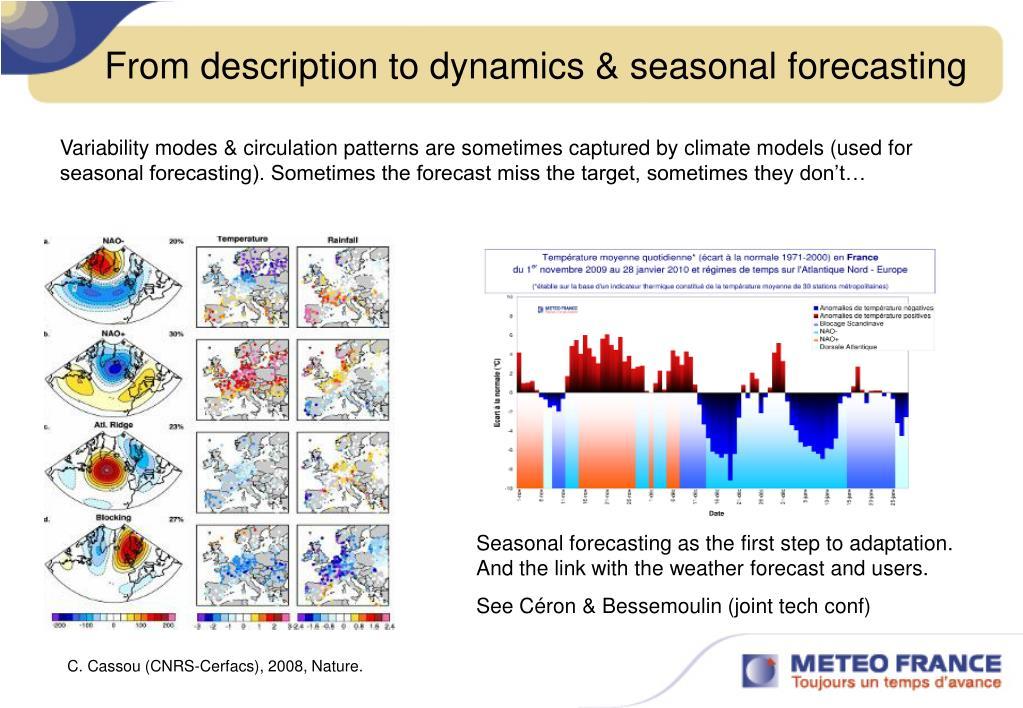 From description to dynamics & seasonal forecasting