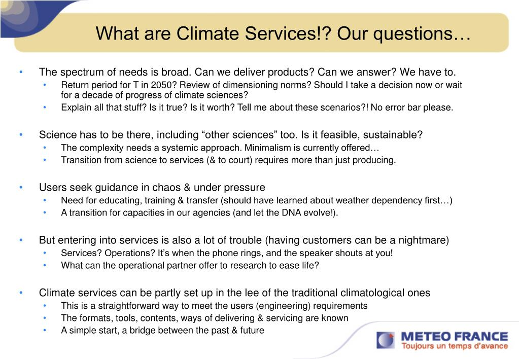 What are Climate Services!? Our questions…