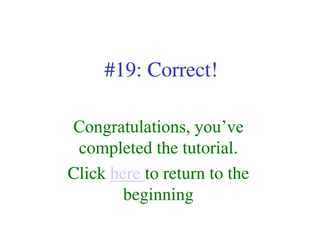 #19: Correct!