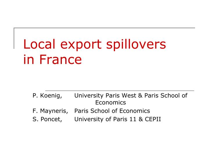Local export spillovers in france