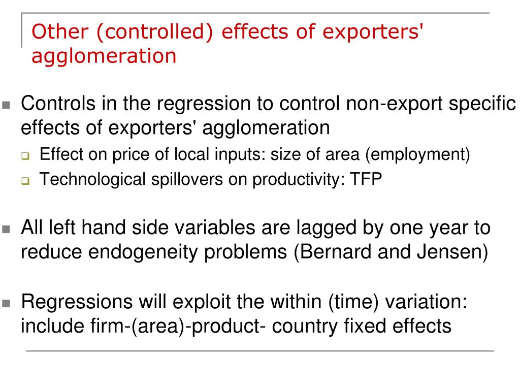 Other (controlled) effects of exporters' agglomeration
