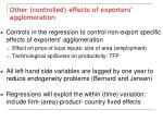 other controlled effects of exporters agglomeration