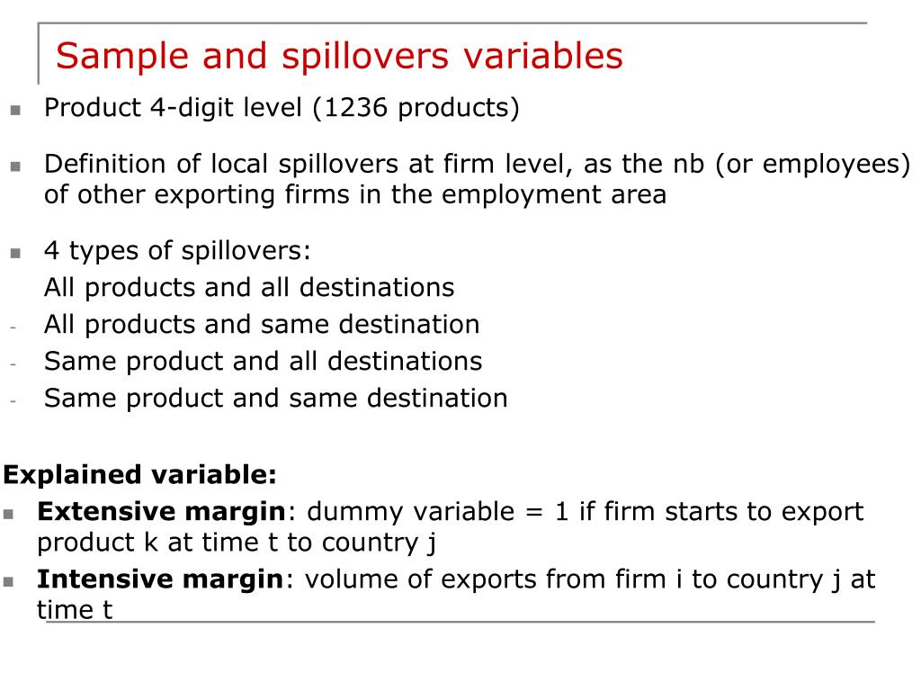Sample and spillovers variables