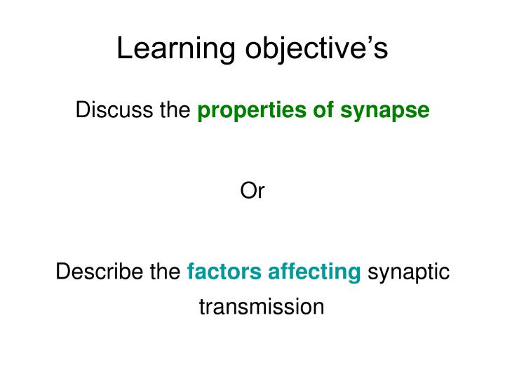 Learning objective s