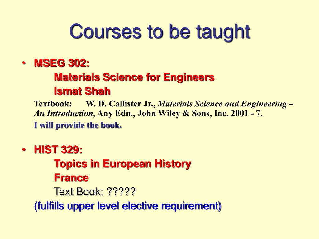 Courses to be taught