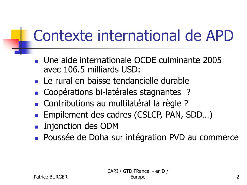 Contexte international de APD