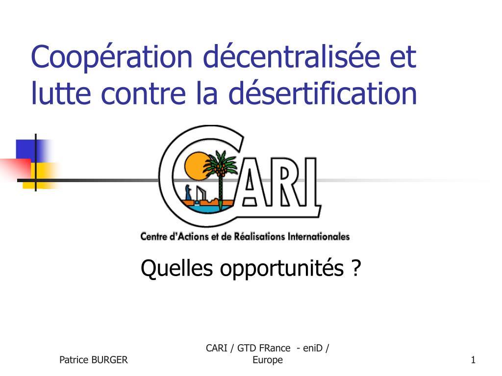 Coopération décentralisée et lutte contre la désertification