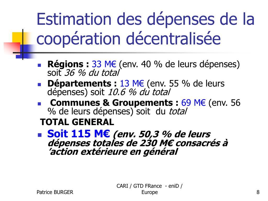 Estimation des dépenses de la coopération décentralisée