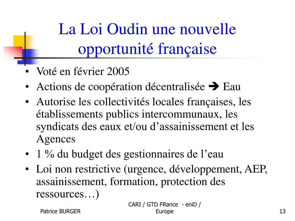 La Loi Oudin une nouvelle opportunité française