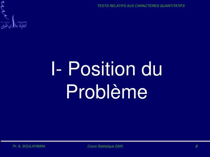 I- Position du Problème