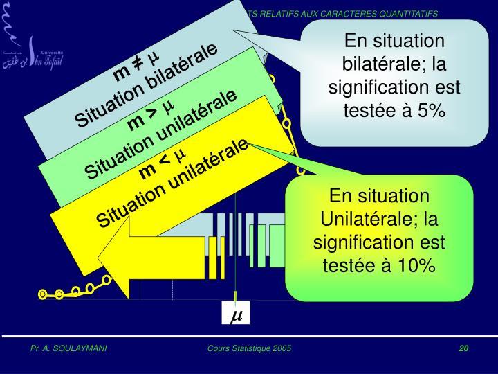 En situation bilatérale; la signification est testée à 5%