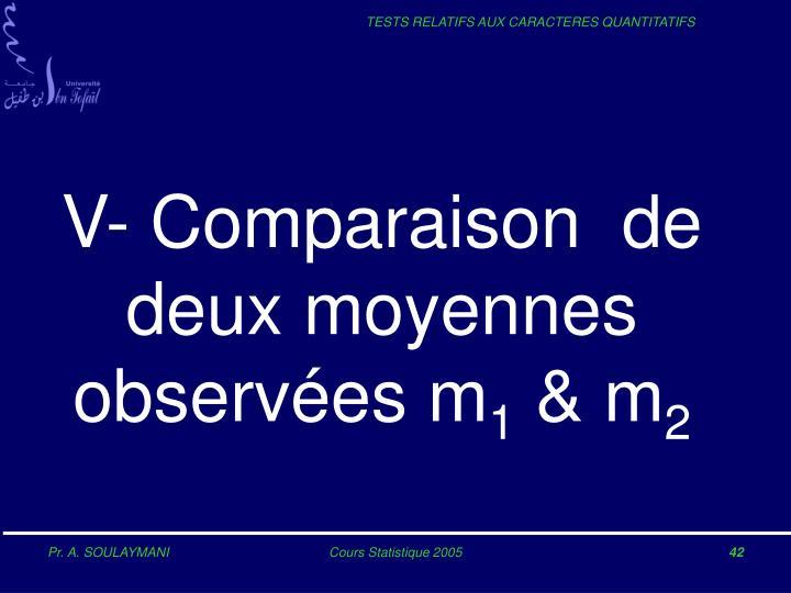 V- Comparaison  de deux moyennes observées m