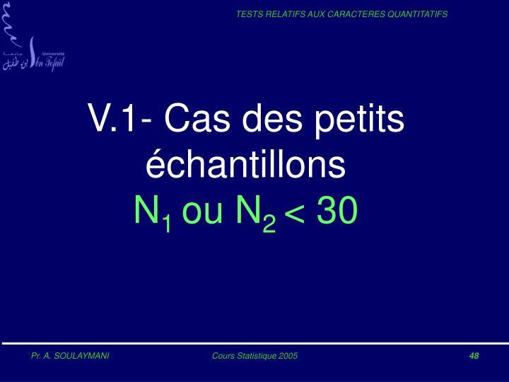 V.1- Cas des petits échantillons