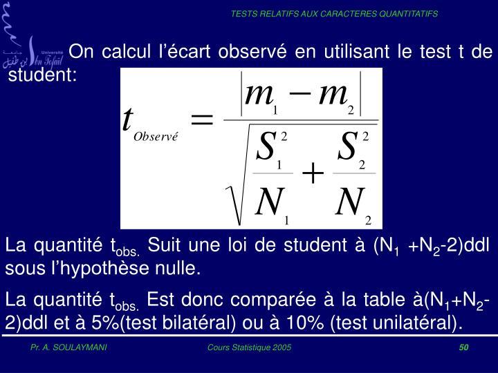 On calcul l'écart observé en utilisant le test t de student: