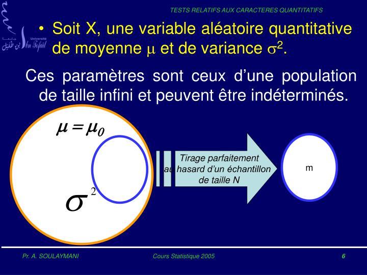 Soit X, une variable aléatoire quantitative de moyenne