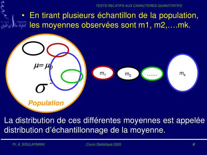 En tirant plusieurs échantillon de la population, les moyennes observées sont m1, m2,….mk.
