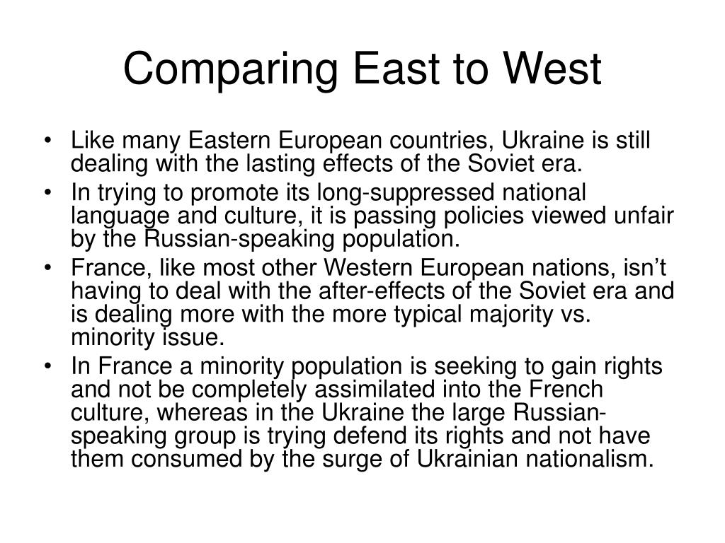 Comparing East to West