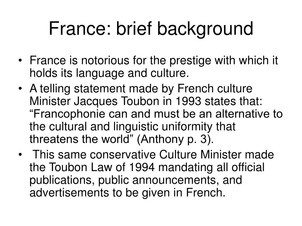 France: brief background
