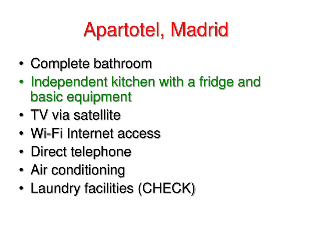 Apartotel, Madrid