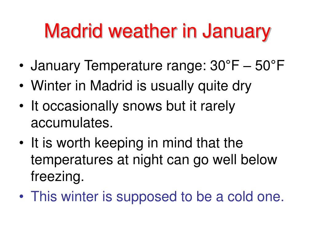 Madrid weather in January
