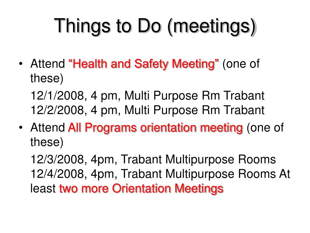 Things to Do (meetings)