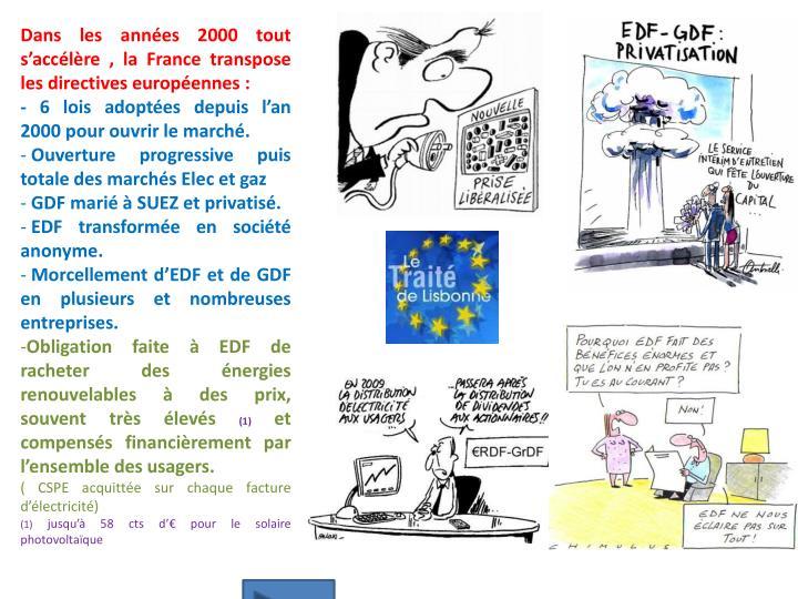 Dans les années 2000 tout s'accélère , la France transpose les directives européennes :