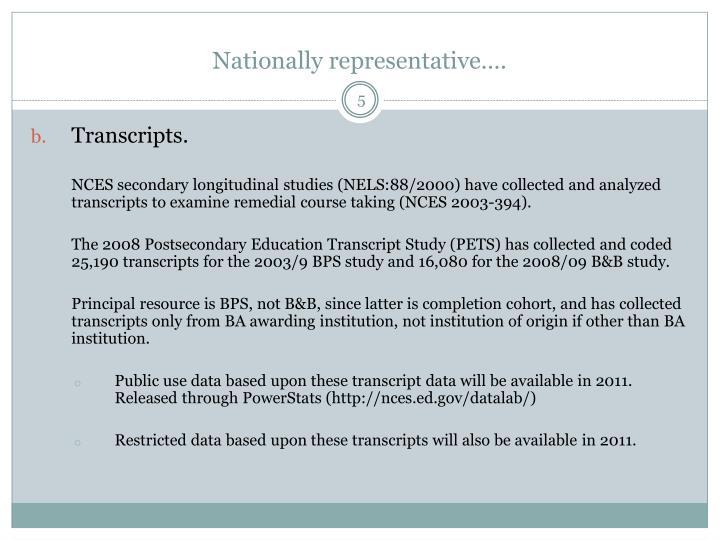 Nationally representative….