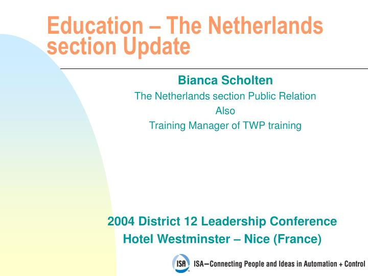 Education the netherlands section update