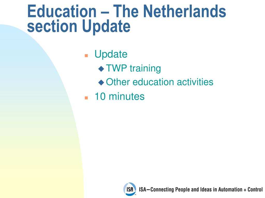 Education – The Netherlands section Update