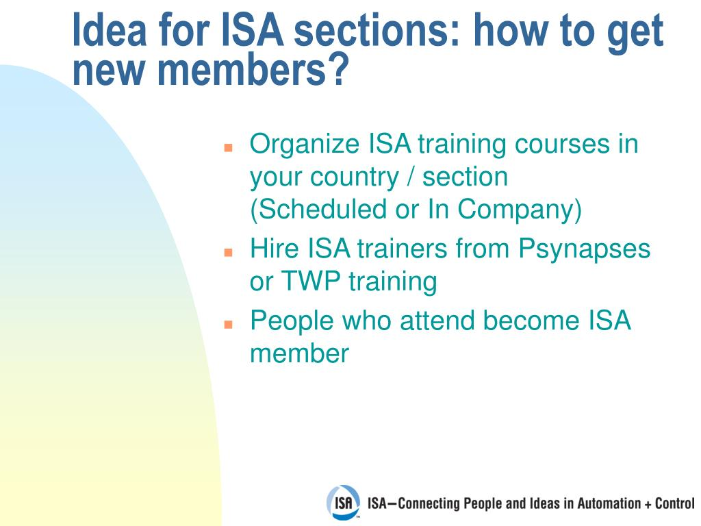 Idea for ISA sections: how to get new members?