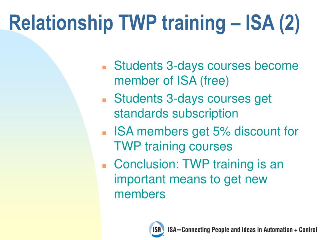 Relationship TWP training – ISA (2)