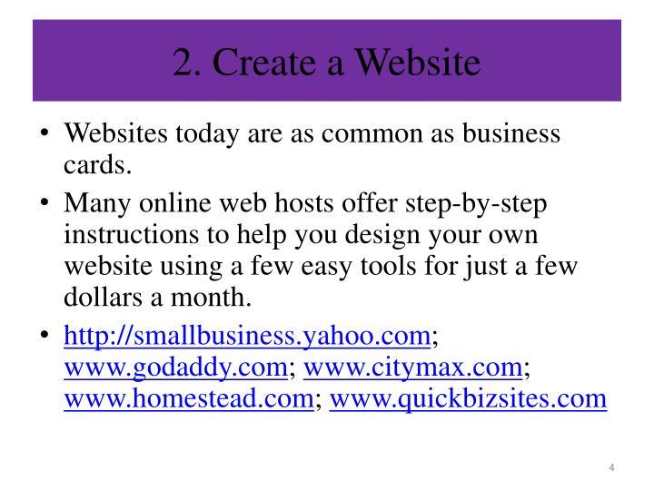 2. Create a Website