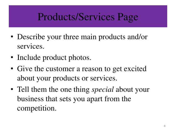 Products/Services Page