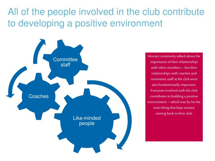 All of the people involved in the club contribute to developing a positive environment