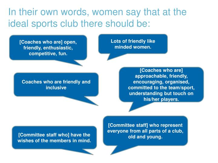 In their own words, women say that at the ideal sports club there should be: