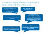 in their own words women say that at the ideal sports club there should be