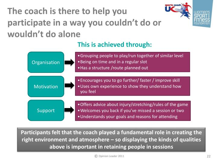 The coach is there to help you