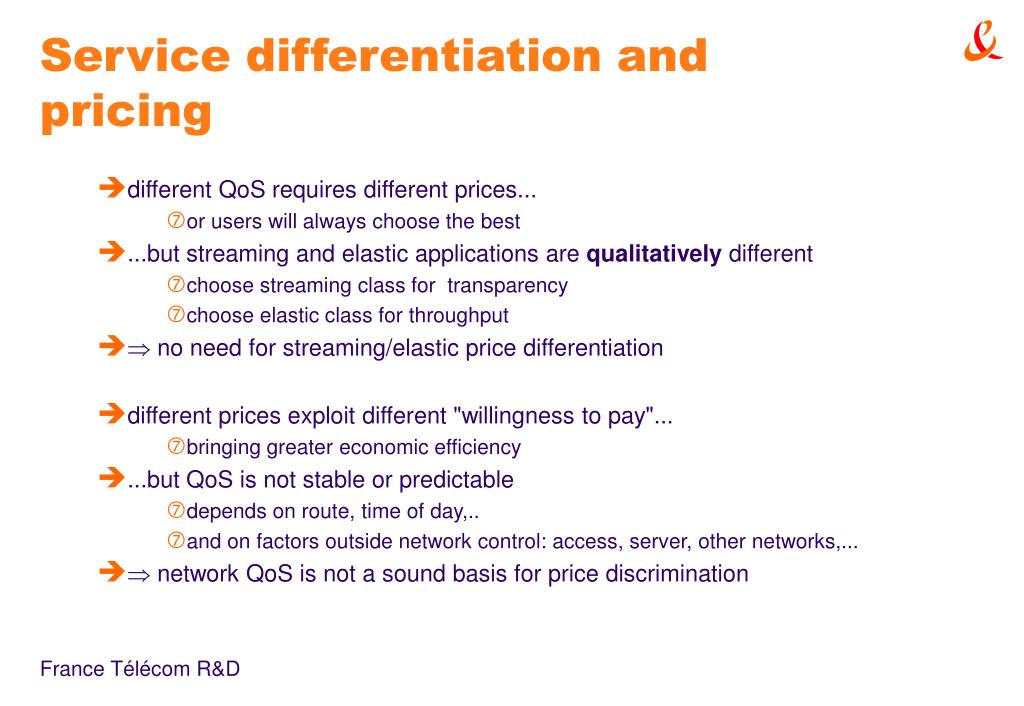 Service differentiation and pricing
