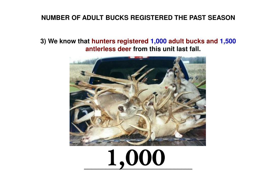 NUMBER OF ADULT BUCKS REGISTERED THE PAST SEASON