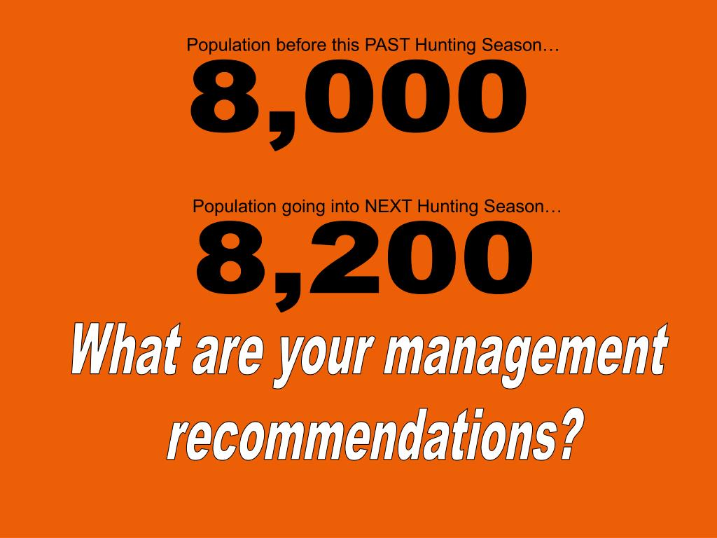 Population before this PAST Hunting Season…